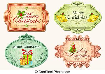 Retro Christmas Sticker - illustration of christmas sticker...