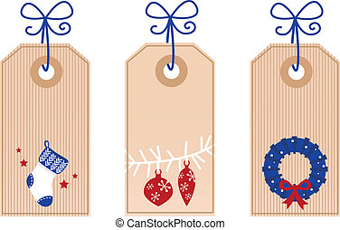 Retro Christmas Tags / Labels isolated on white
