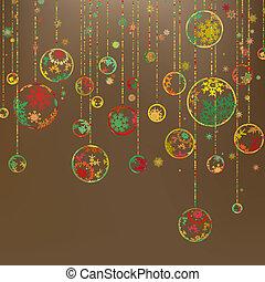 Retro christmas template with ball. EPS 8