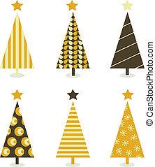 Six retro christmas trees on white background. Vector illustration.