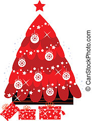 Retro christmas tree with decoration isolated on white
