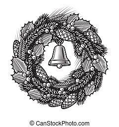 Retro Christmas wreath in woodcut style. Black and white...