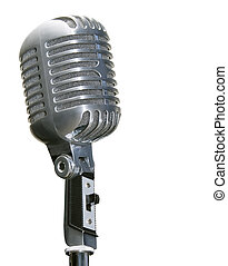 retro chrome microphone isolated on white