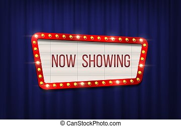 Retro cinema announcement board with bulb frame on blue curtains background. Vector design element.