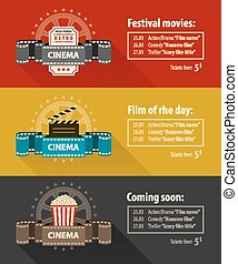 Retro cinema banners posters flyers templates flat design