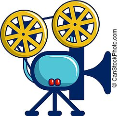 Retro cinema camera icon, cartoon style
