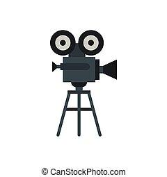 Retro cinema camera icon, flat style