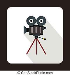 Retro cinema camera icon, flat style
