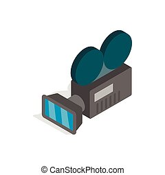 Retro cinema camera icon, isometric 3d style