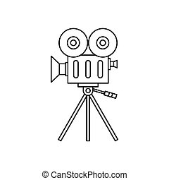 Retro cinema camera icon, outline style