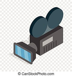 Retro cinema camera isometric icon