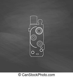 Retro cinema computer symbol