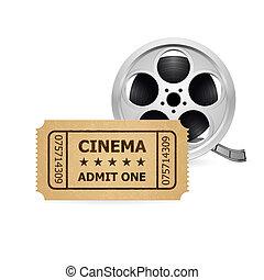 Retro cinema ticket and Babin