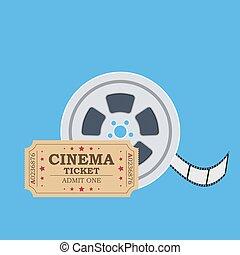 Retro cinema ticket and film reel.
