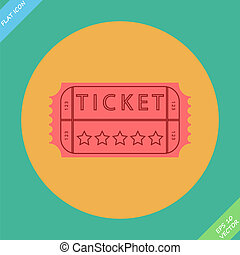 Retro cinema ticket - vector illustration