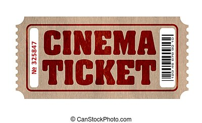 Retro cinema ticket with number and barcode.
