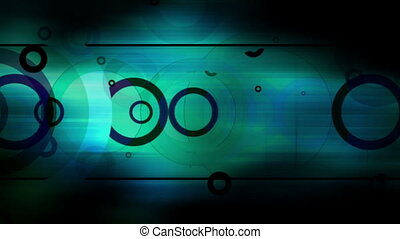 Retro circles looping background darkness and blue green