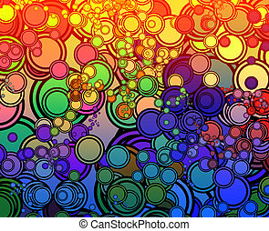 Retro circles - Retro abstract psychedelic multicolored...