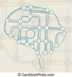 retro circuit board form of brain, technology illustration ...