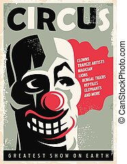 Retro circus poster design template with clown portrait....