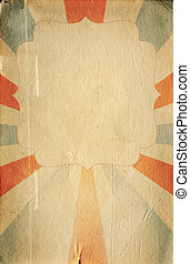 Retro circus style poster template on sunbeam background...