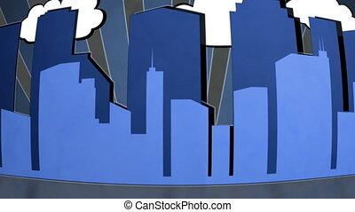 Retro City blue non looping - Blue retro city non looping CG...