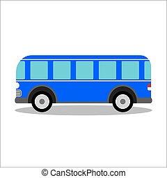 Retro city bus on a white background