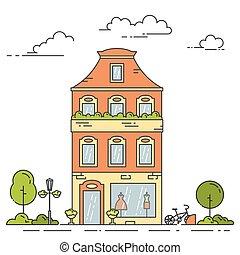 Retro city line house - multi storey apartment building in...