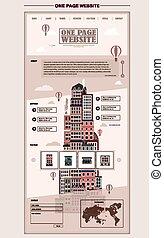 retro city scene one page website design