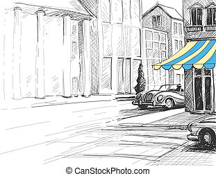 Retro city sketch, urban architecture, street and cars
