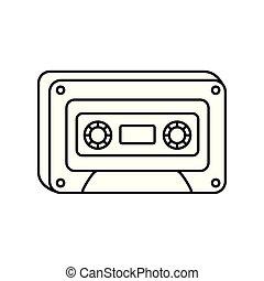 retro classic cassette music icon on white background thick line
