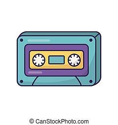 retro classic cassette music icon on white background