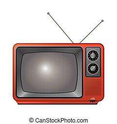 retro classic tv with antenna icon