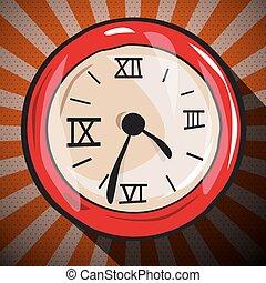 Retro Clock Flat Design Long Shadow Illustration