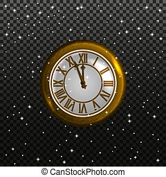Retro clock on a starry sky background