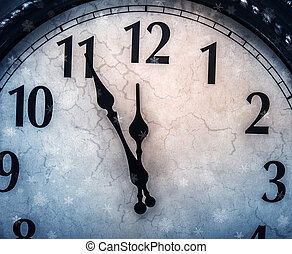Retro clock with five minutes before twelve.
