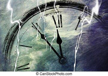 Retro clock with five minutes before twelve
