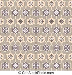 Retro cloth pattern - Floral cells retro kimono pattern