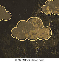 Retro clouds vector background.