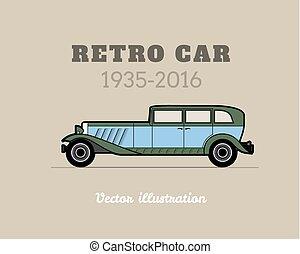 retro, coche, vendimia, colección