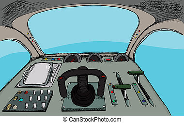 Retro Cockpit - Pilot view from a generic fantasy control...