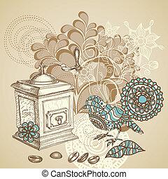 Retro coffee background featuring decorative bird grinding...