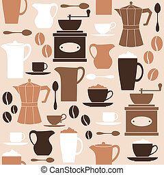 Retro Coffee Background - Seamless pattern in retro style...