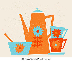 Illustration of a coffee pot, two cups and a bowl in retro style.
