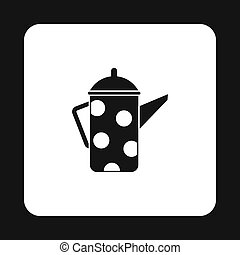 Retro coffee kettle with white dots icon
