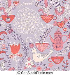 Retro coffee seamless pattern, tea background, texture with cups, drink and flowers.
