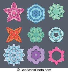 Retro color geometry ornament design on gray background