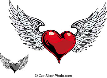 Retro color heart tattoo - Retro color heart with wings for ...