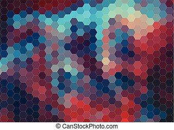 Retro color hexagram pattern of geometric shapes - Retro...