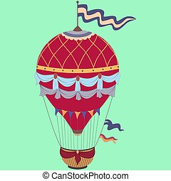 Retro color hot air balloon on vintage green background